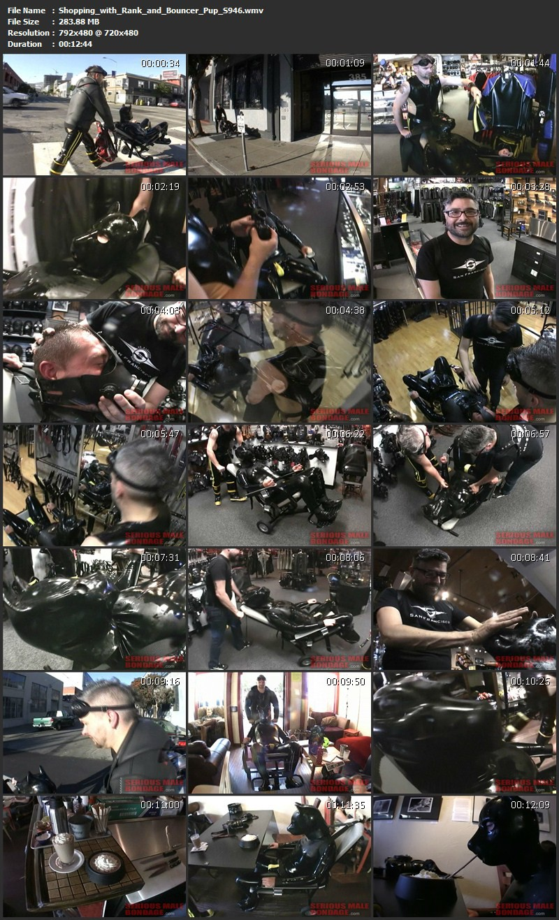 Shopping with Rank and Bouncer Pup (S946). Oct 19 2012. Seriousmalebondage.com (283Mb)