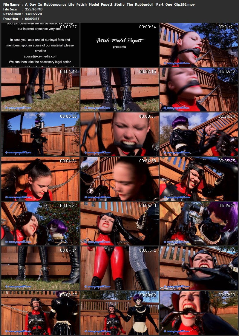 A Day In Rubberpony's Life - Fetish Model Pupett, Steffy The Rubberdoll and J.G. Leathers Part One (Clip196). Jul 30 2014. Pupett.com (355 Mb)