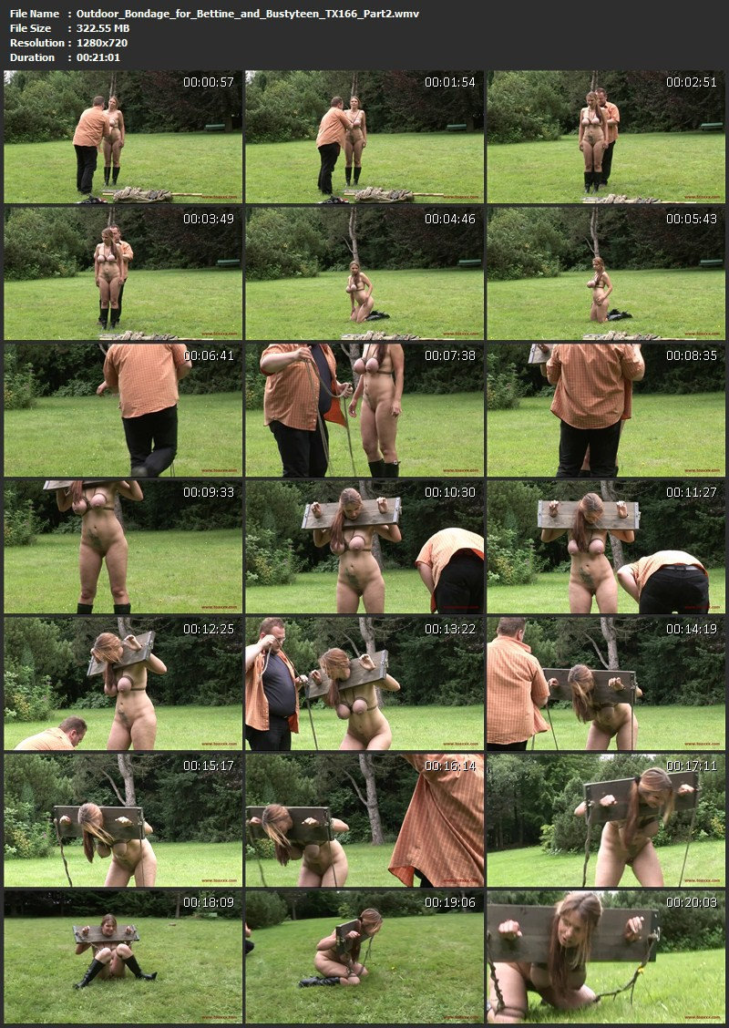 Outdoor Bondage for Bettine & Bustyteen (TX166). Sep 30 2015. Toaxxx.com (634 Mb)