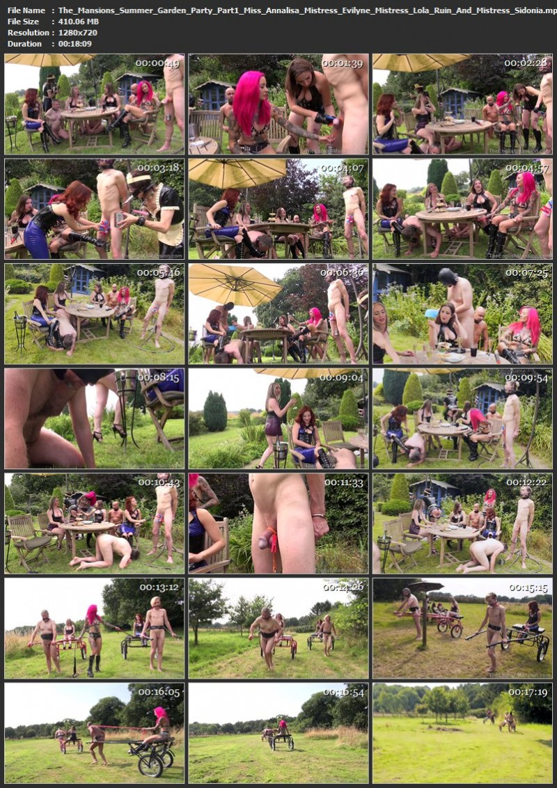 The Mansion's Summer Garden Party Part1 - Miss Annalisa, Mistress Evilyne, Mistress Lola Ruin And Mistress Sidonia. TheEnglishMansion.com (410 Mb)