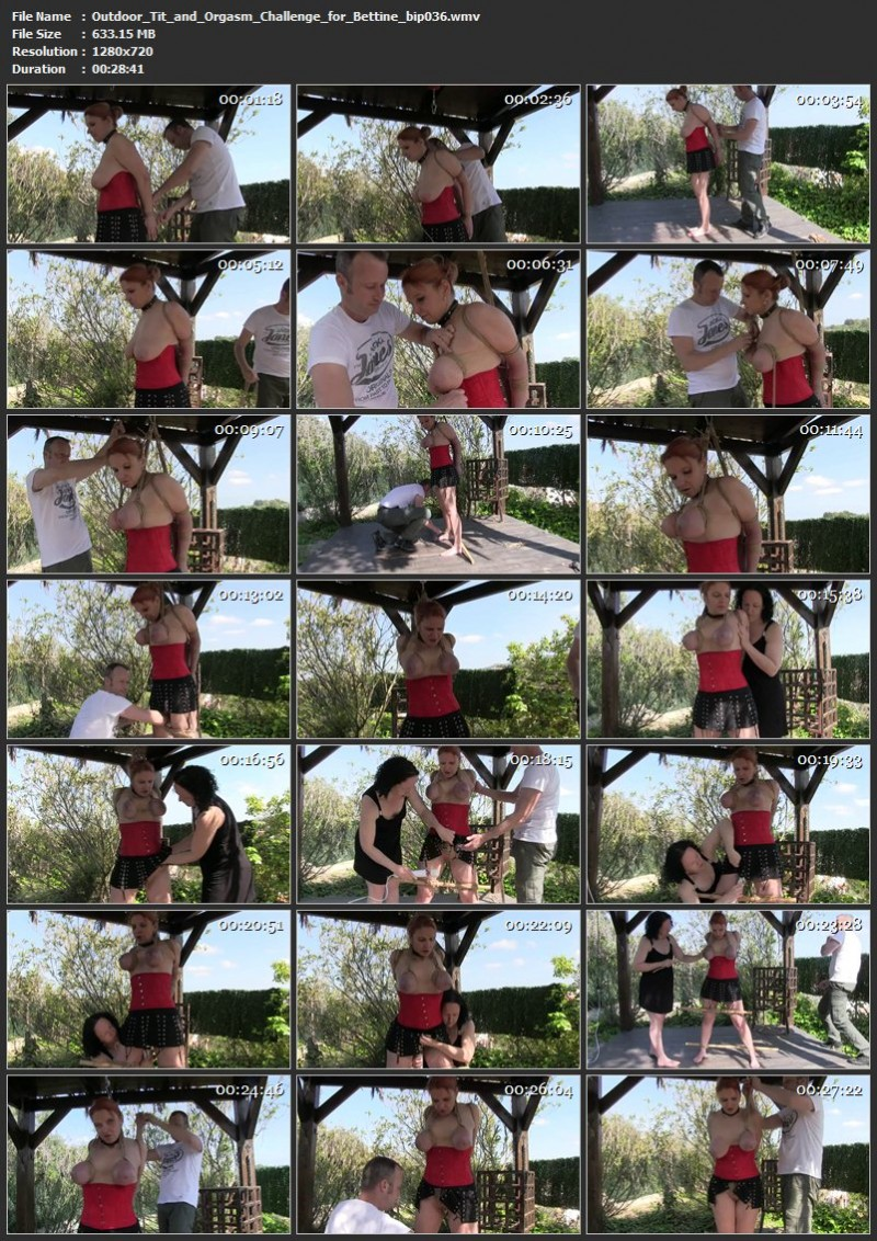 Outdoor Tit and Orgasm Challenge for Bettine (bip036). Jul 15 2017. Breastsinpain.com (633 Mb)
