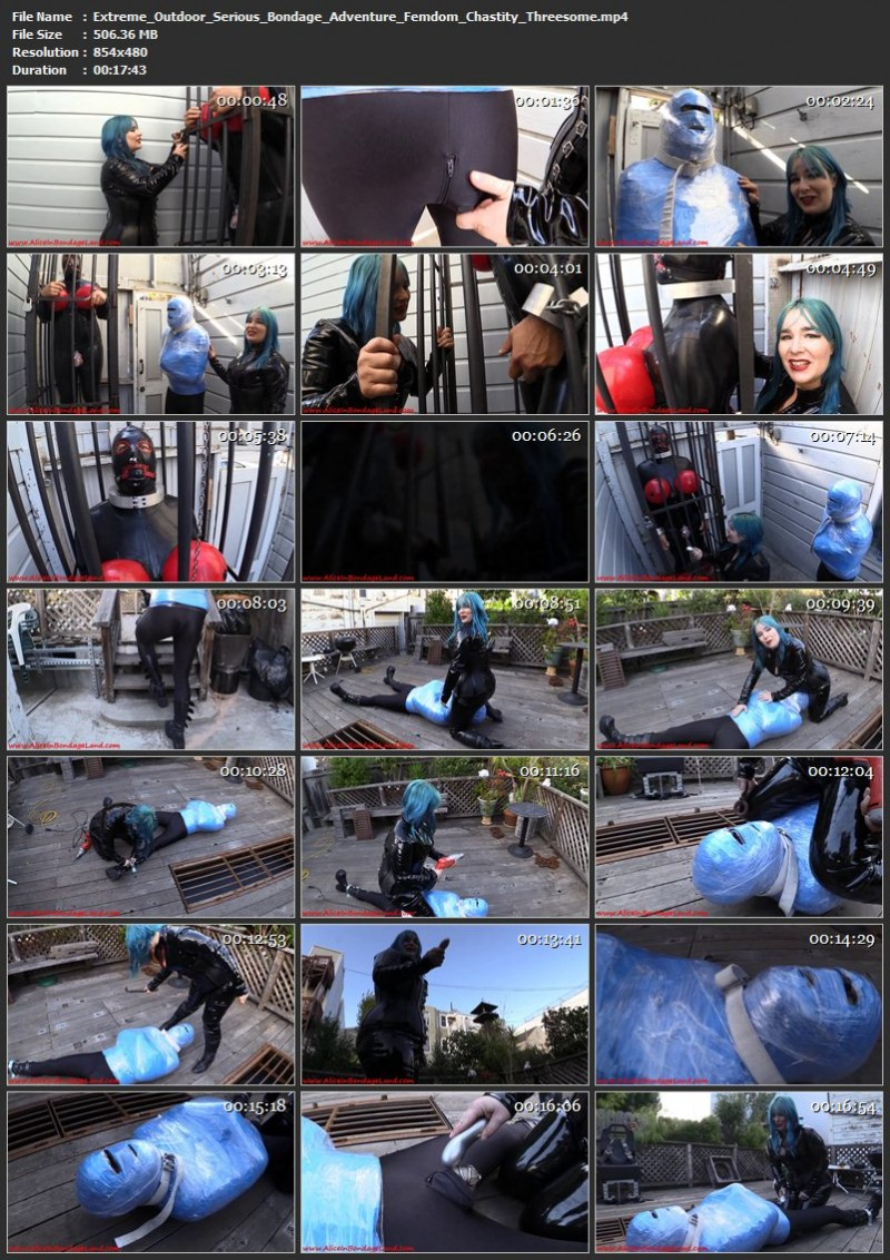 Extreme Outdoor Serious Bondage Adventure – Femdom Chastity Threesome. Sep 28 2015. AliceInBondageLand.com (506 Mb)