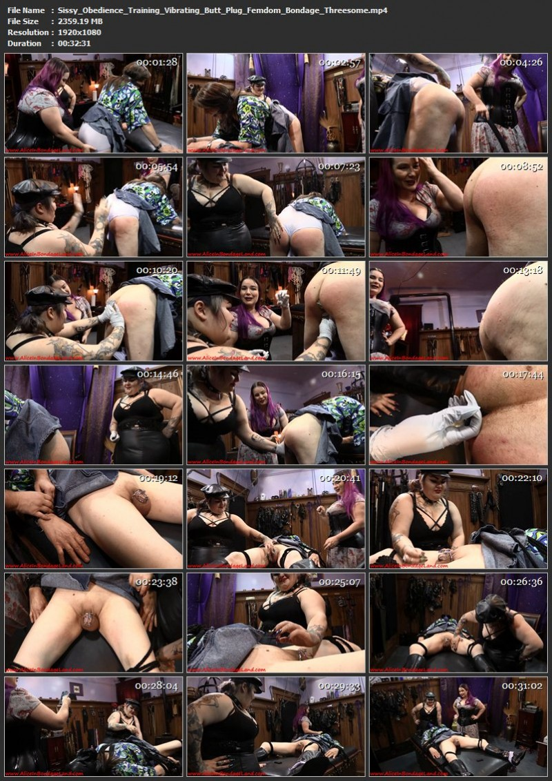 Sissy Obedience Training Vibrating Butt Plug – Femdom Bondage Threesome. Jul 18 2016. AliceInBondageLand.com (2359 Mb)