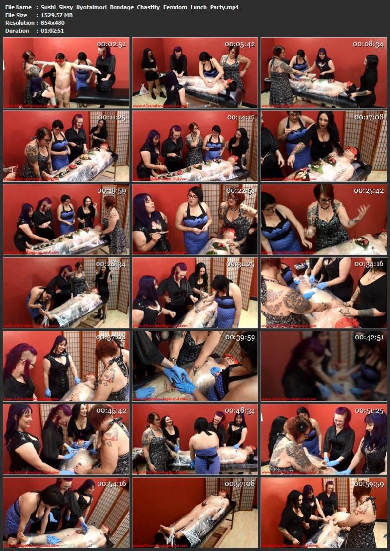 Sushi Sissy Nyotaimori Bondage – Chastity Femdom Lunch Party. Jun 08 2015. AliceInBondageLand.com (1529 Mb)