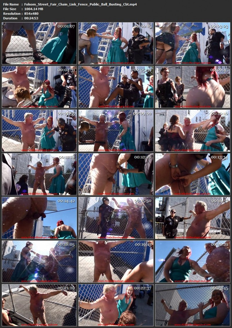 Folsom Street Fair – Chain Link Fence Public Ball Busting Cbt. Jun 30 2017. AliceInBondageLand.com (1004 Mb)
