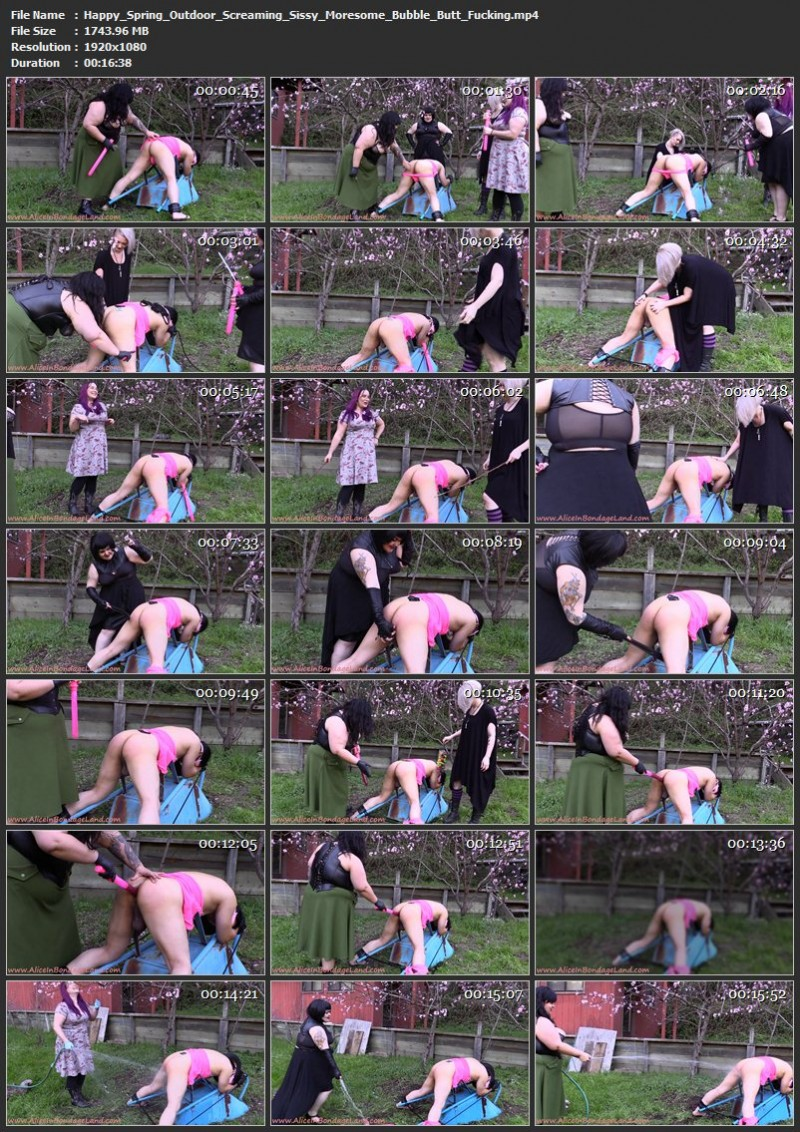 Happy Spring – Outdoor Screaming Sissy Moresome – Bubble Butt Fucking. Mar 06 2017. AliceInBondageLand.com (1743 Mb)