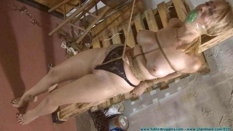 Allegra HogCuffed, Crotch Chained, then Crotch Roped TIGHT. Futilestruggles.com (760 Mb)