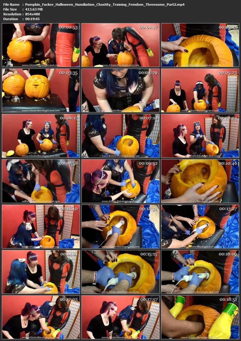 Pumpkin Fucker Halloween Humiliation – Chastity Training Femdom Threesome. Oct 24 2018. AliceInBondageLand.com (845 Mb)