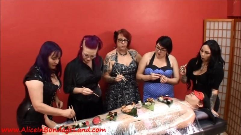 Sushi Sissy Nyotaimori Bondage - Chastity Femdom Lunch Party. Sep 02 2019. Aliceinbondageland.com (1529 Mb)