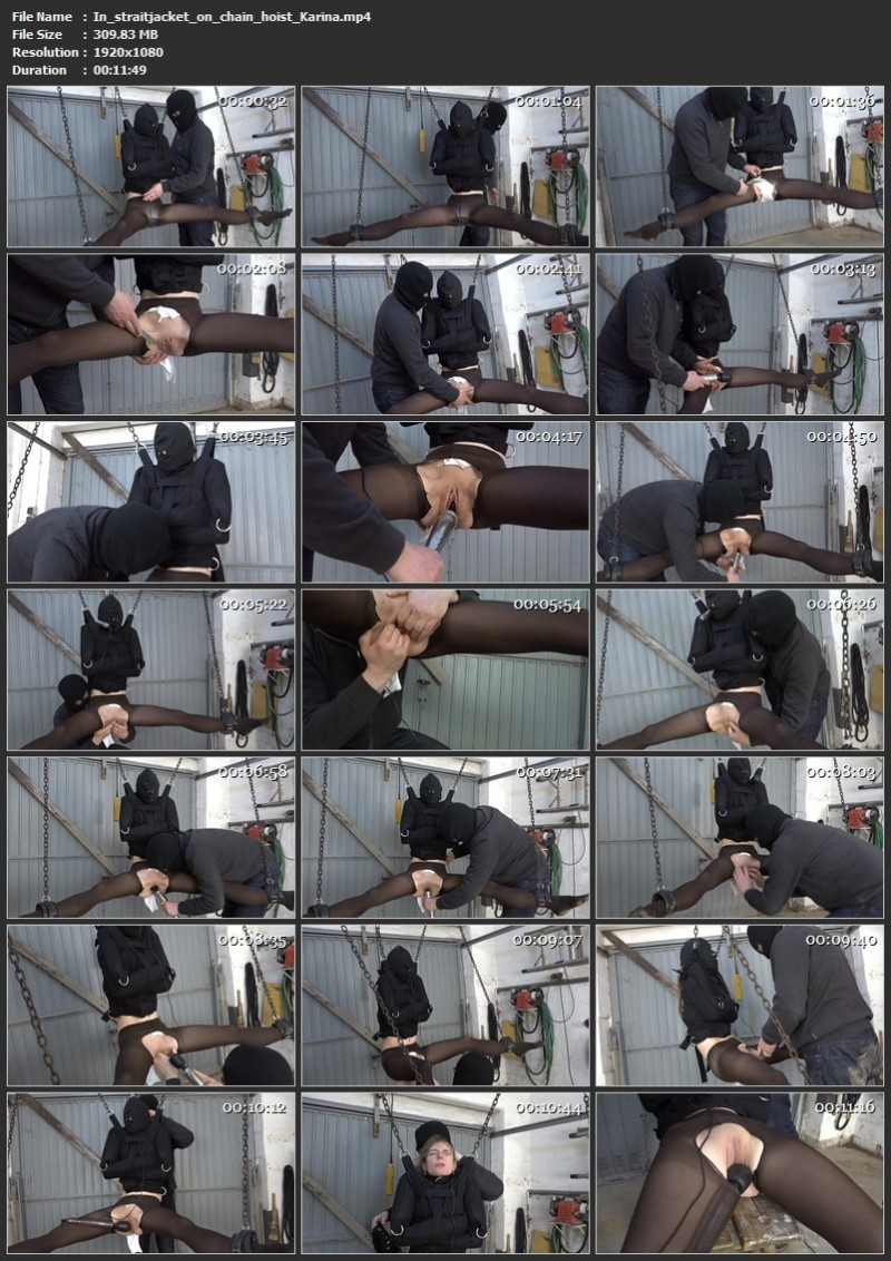 In straitjacket on chain hoist - Karina. 2021-03-05. Amateure-Xtreme.com (309 Mb)