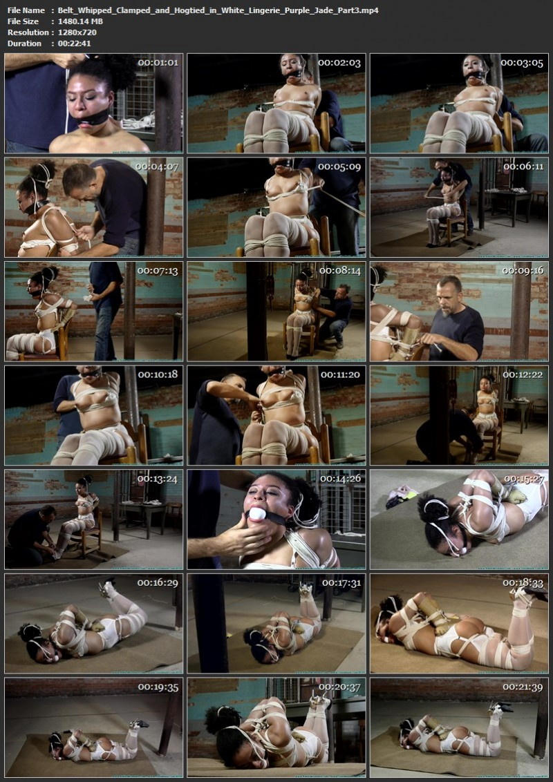 Belt Whipped, Clamped, and Hogtied in White Lingerie - Purple Jade. 01/09/2021. Futilestruggles.com (6128 Mb)